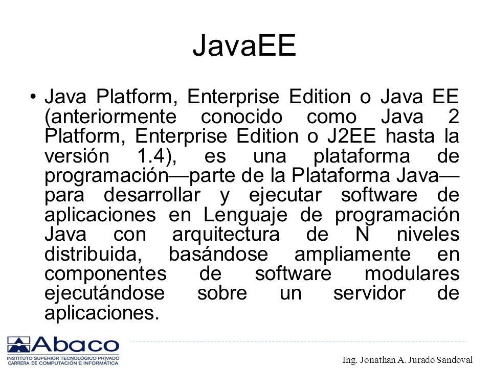 JavaEE Java Platform, Enterprise Edition o Java EE (anteriormente conocido como Java 2 Platform, Enterprise Edition o J2EE hasta la versión 1.4), es u