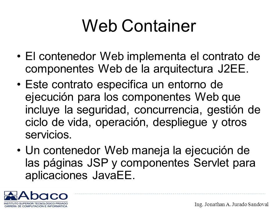 Web Container El contenedor Web implementa el contrato de componentes Web de la arquitectura J2EE. Este contrato especifica un entorno de ejecución pa