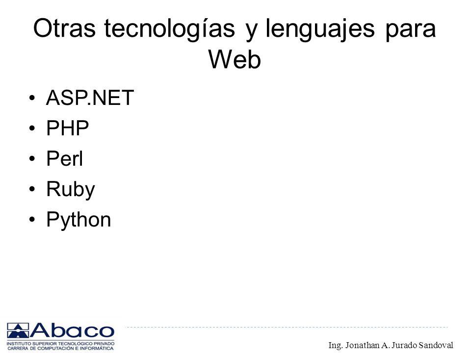 Otras tecnologías y lenguajes para Web ASP.NET PHP Perl Ruby Python Ing. Jonathan A. Jurado Sandoval
