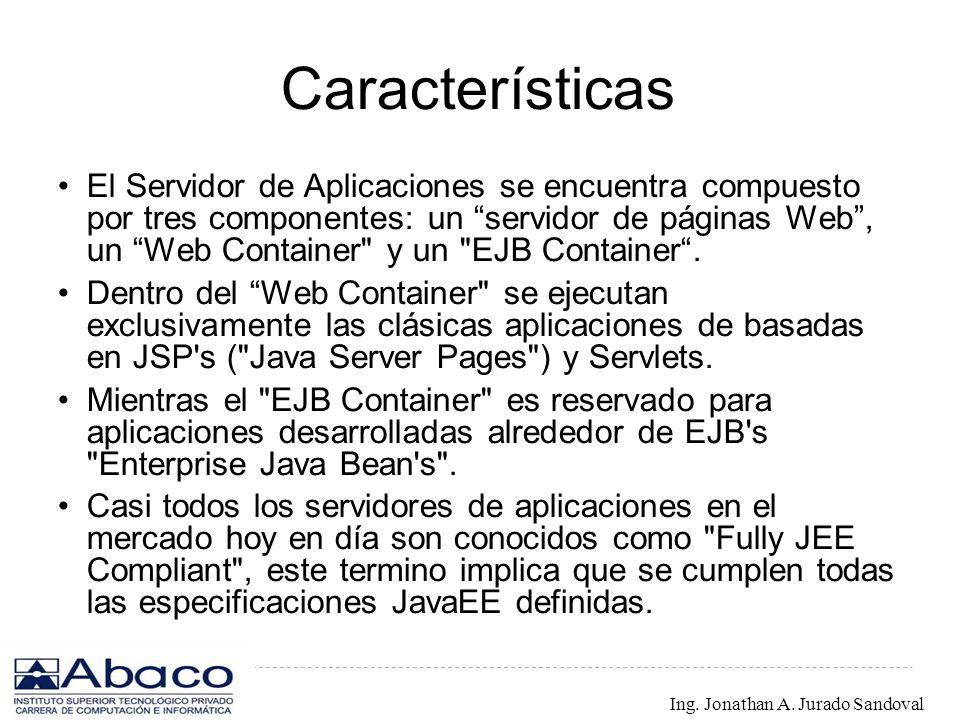 Características El Servidor de Aplicaciones se encuentra compuesto por tres componentes: un servidor de páginas Web, un Web Container