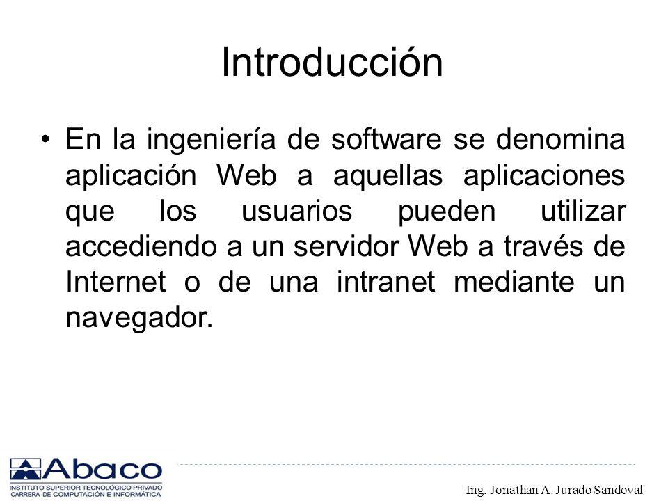 Introducción En la ingeniería de software se denomina aplicación Web a aquellas aplicaciones que los usuarios pueden utilizar accediendo a un servidor