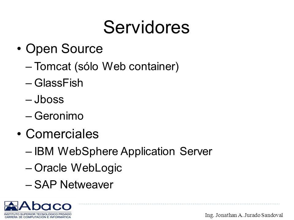 Servidores Open Source –Tomcat (sólo Web container) –GlassFish –Jboss –Geronimo Comerciales –IBM WebSphere Application Server –Oracle WebLogic –SAP Ne