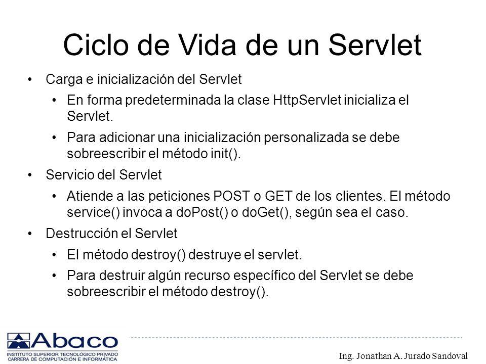 Ciclo de Vida de un Servlet Carga e inicialización del Servlet En forma predeterminada la clase HttpServlet inicializa el Servlet. Para adicionar una
