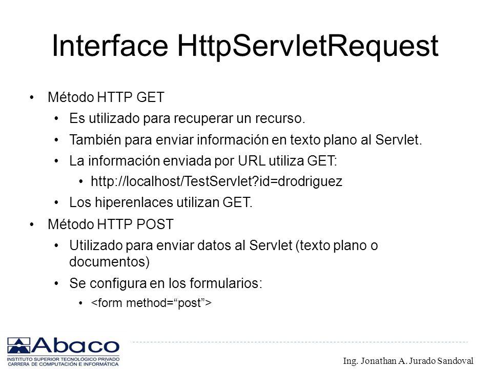 Interface HttpServletRequest Método HTTP GET Es utilizado para recuperar un recurso. También para enviar información en texto plano al Servlet. La inf