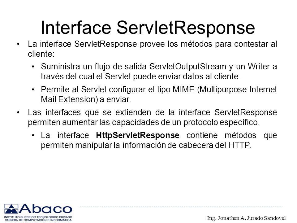 Interface ServletResponse La interface ServletResponse provee los métodos para contestar al cliente: Suministra un flujo de salida ServletOutputStream