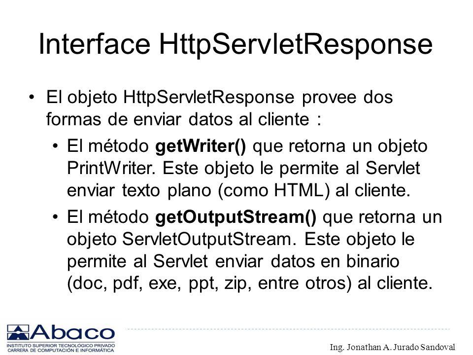Interface HttpServletResponse El objeto HttpServletResponse provee dos formas de enviar datos al cliente : El método getWriter() que retorna un objeto