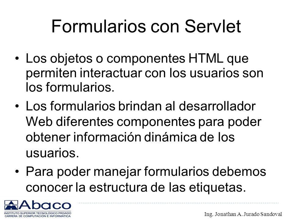 Formularios con Servlet Los objetos o componentes HTML que permiten interactuar con los usuarios son los formularios. Los formularios brindan al desar