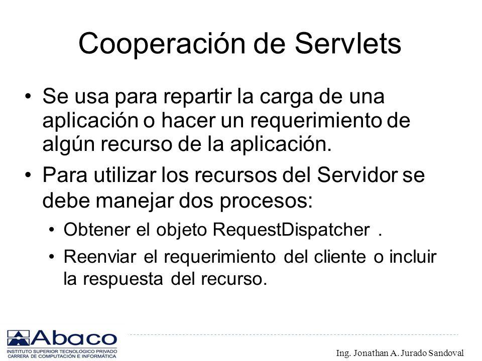 Cooperación de Servlets Se usa para repartir la carga de una aplicación o hacer un requerimiento de algún recurso de la aplicación. Para utilizar los