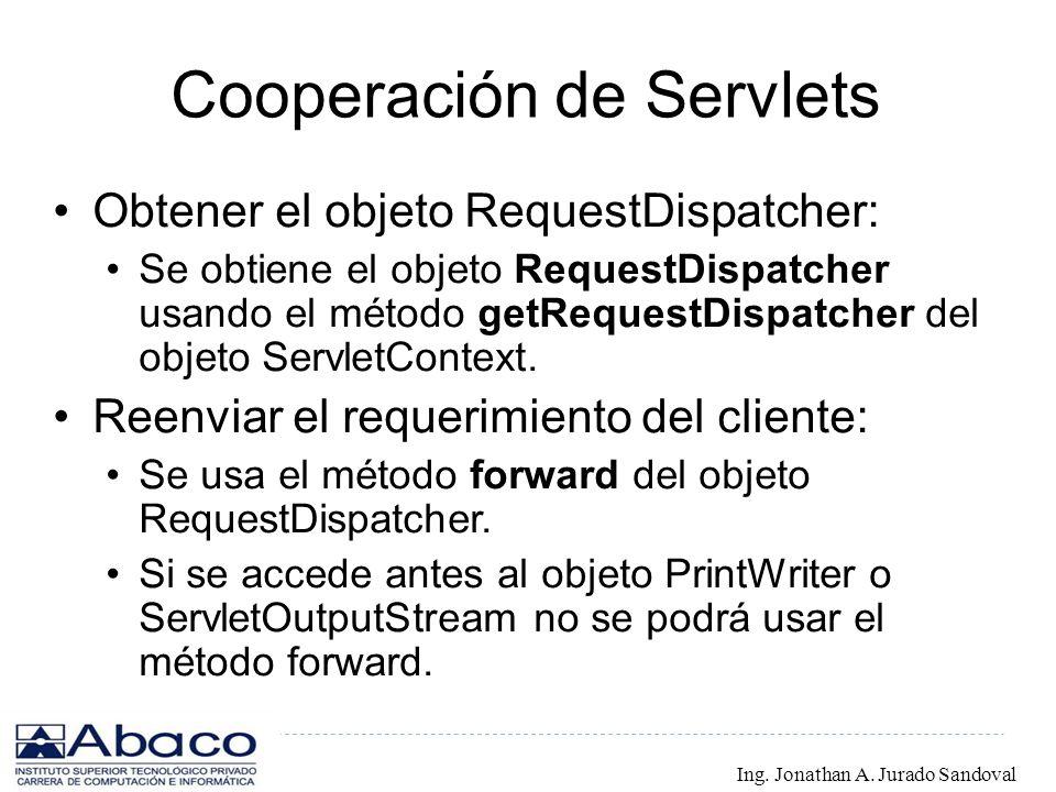 Cooperación de Servlets Obtener el objeto RequestDispatcher: Se obtiene el objeto RequestDispatcher usando el método getRequestDispatcher del objeto S