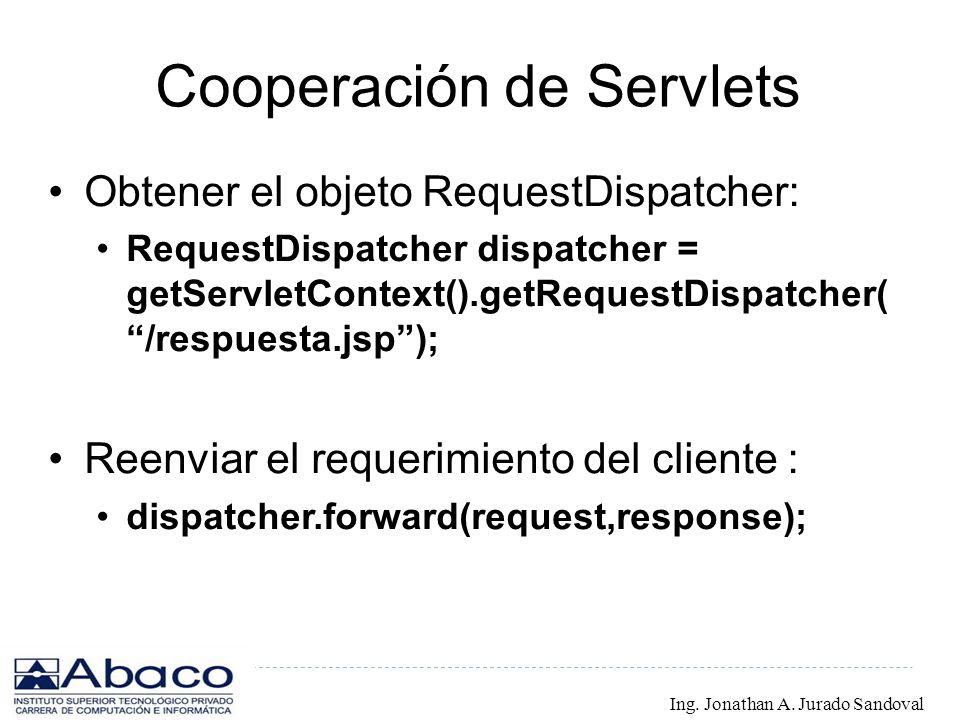 Cooperación de Servlets Obtener el objeto RequestDispatcher: RequestDispatcher dispatcher = getServletContext().getRequestDispatcher( /respuesta.jsp);