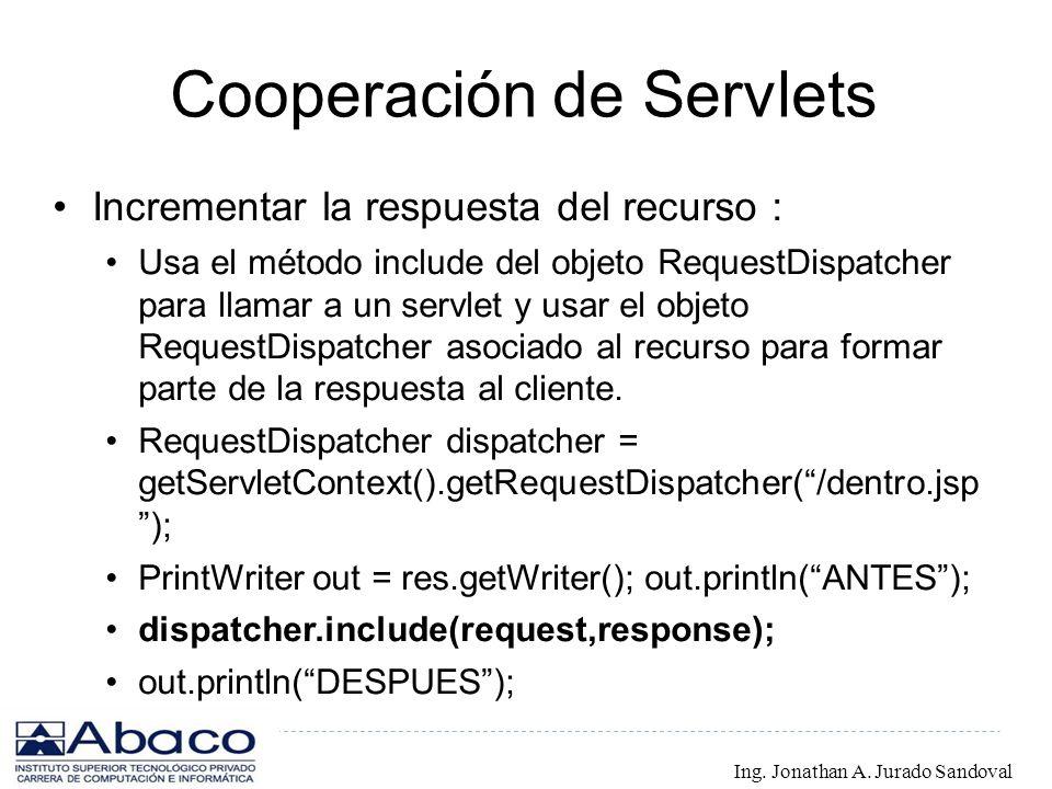 Cooperación de Servlets Incrementar la respuesta del recurso : Usa el método include del objeto RequestDispatcher para llamar a un servlet y usar el o