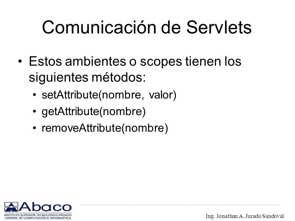 Comunicación de Servlets Estos ambientes o scopes tienen los siguientes métodos: setAttribute(nombre, valor) getAttribute(nombre) removeAttribute(nomb