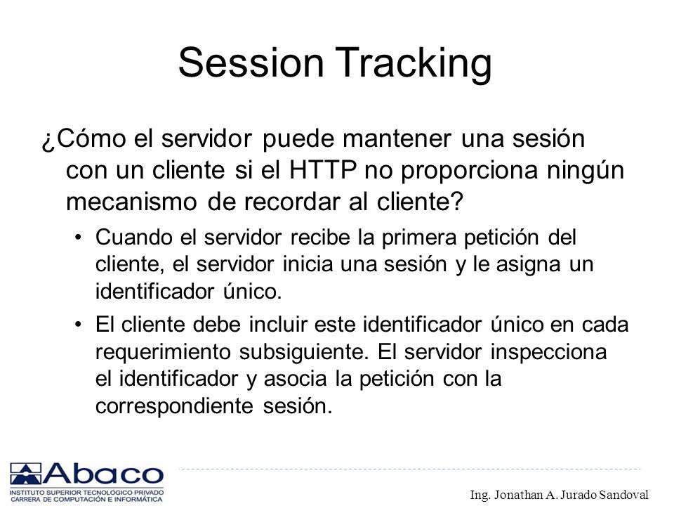Session Tracking ¿Cómo el servidor puede mantener una sesión con un cliente si el HTTP no proporciona ningún mecanismo de recordar al cliente? Cuando