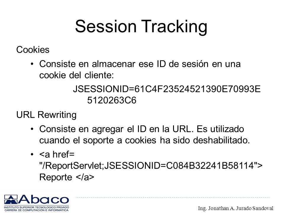 Session Tracking Cookies Consiste en almacenar ese ID de sesión en una cookie del cliente: JSESSIONID=61C4F23524521390E70993E 5120263C6 URL Rewriting