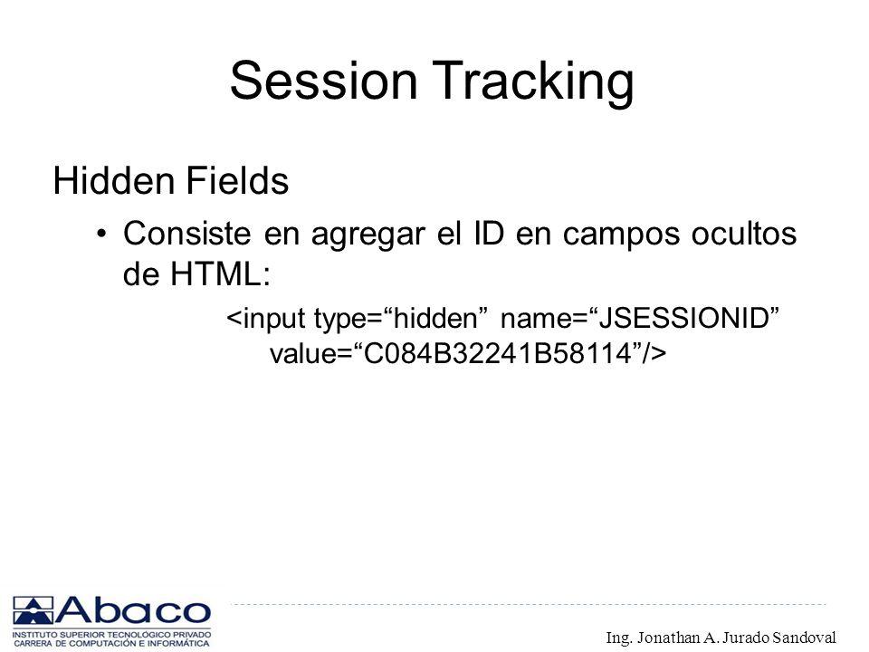 Session Tracking Hidden Fields Consiste en agregar el ID en campos ocultos de HTML: Ing. Jonathan A. Jurado Sandoval