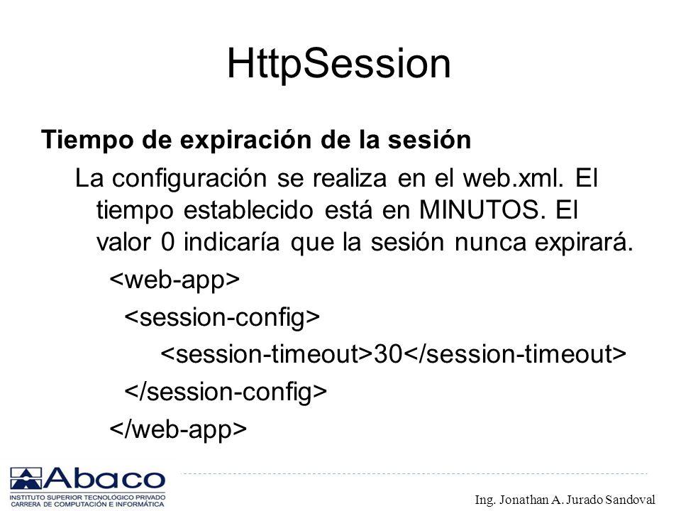 HttpSession Tiempo de expiración de la sesión La configuración se realiza en el web.xml. El tiempo establecido está en MINUTOS. El valor 0 indicaría q