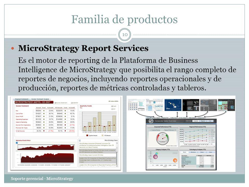 Familia de productos Soporte gerencial - MicroStrategy 10 MicroStrategy Report Services Es el motor de reporting de la Plataforma de Business Intellig