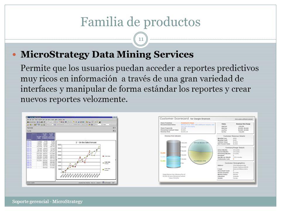 Familia de productos Soporte gerencial - MicroStrategy 11 MicroStrategy Data Mining Services Permite que los usuarios puedan acceder a reportes predic