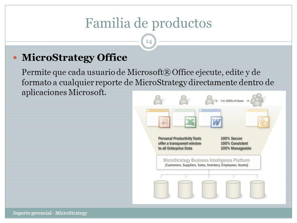Familia de productos Soporte gerencial - MicroStrategy 14 MicroStrategy Office Permite que cada usuario de Microsoft® Office ejecute, edite y de forma
