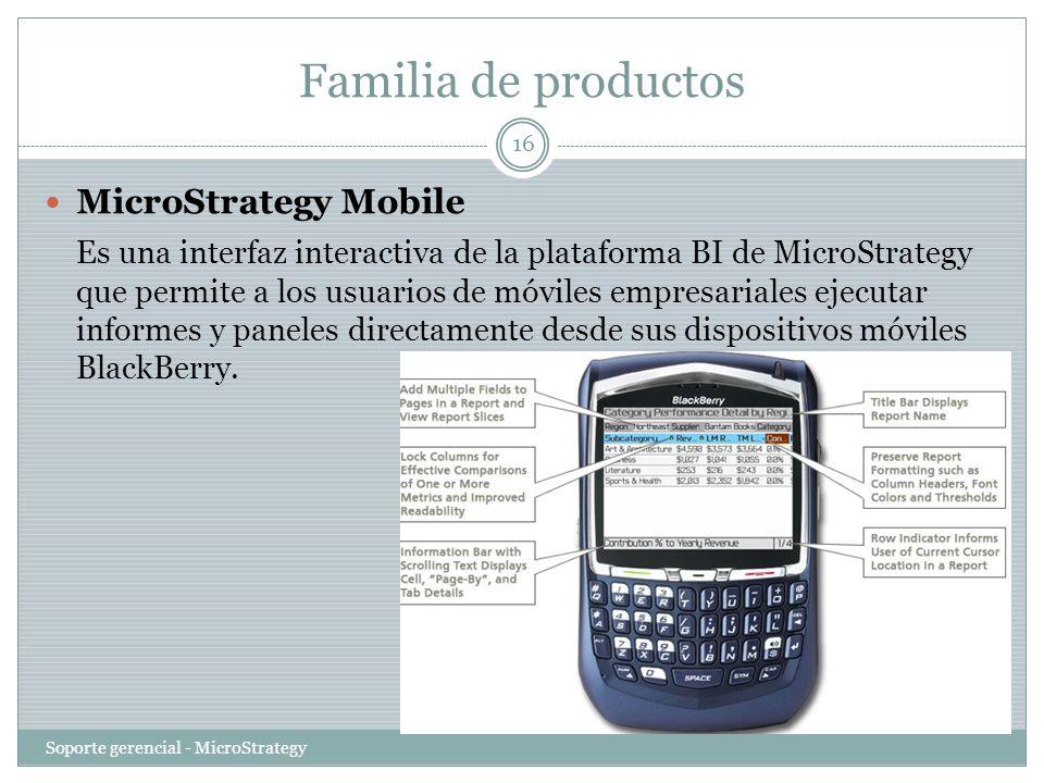 Familia de productos Soporte gerencial - MicroStrategy 16 MicroStrategy Mobile Es una interfaz interactiva de la plataforma BI de MicroStrategy que pe