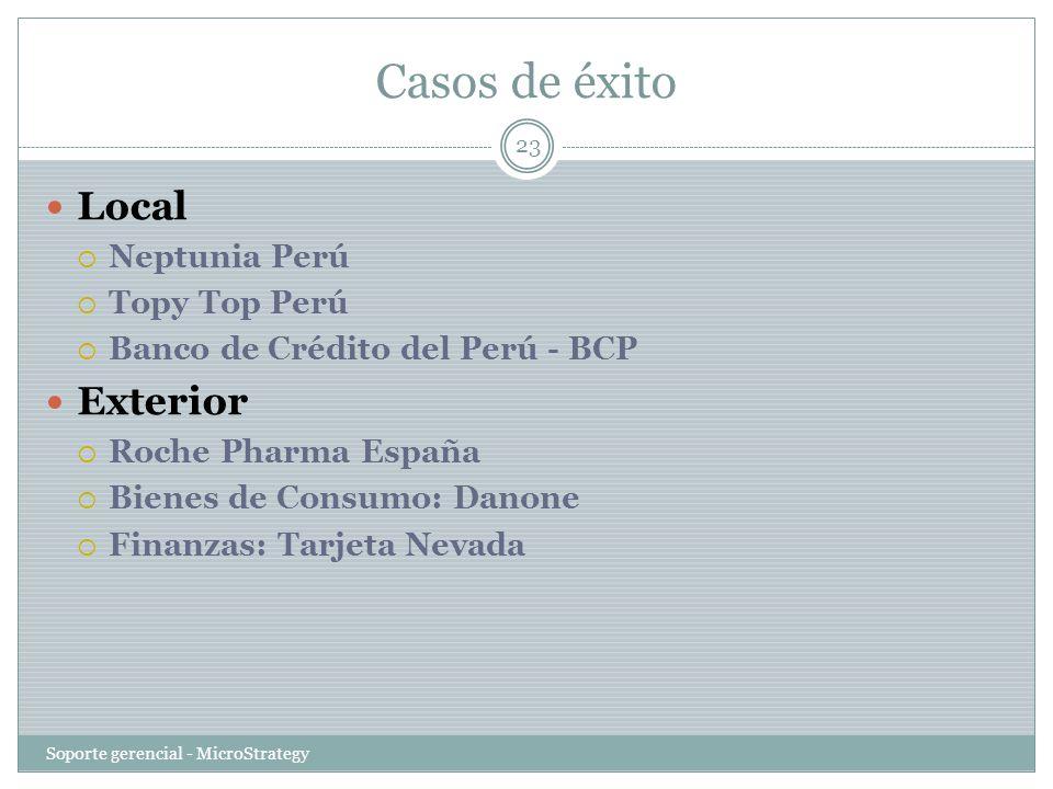 Casos de éxito Soporte gerencial - MicroStrategy 23 Local Neptunia Perú Topy Top Perú Banco de Crédito del Perú - BCP Exterior Roche Pharma España Bie