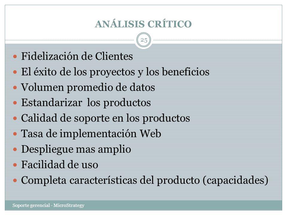 ANÁLISIS CRÍTICO Soporte gerencial - MicroStrategy 25 Fidelización de Clientes El éxito de los proyectos y los beneficios Volumen promedio de datos Es