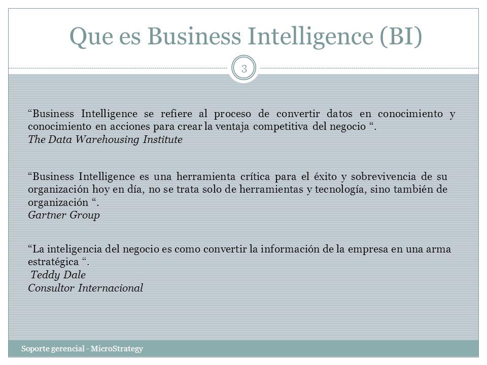 Que es Business Intelligence (BI) Soporte gerencial - MicroStrategy 3 Business Intelligence se refiere al proceso de convertir datos en conocimiento y