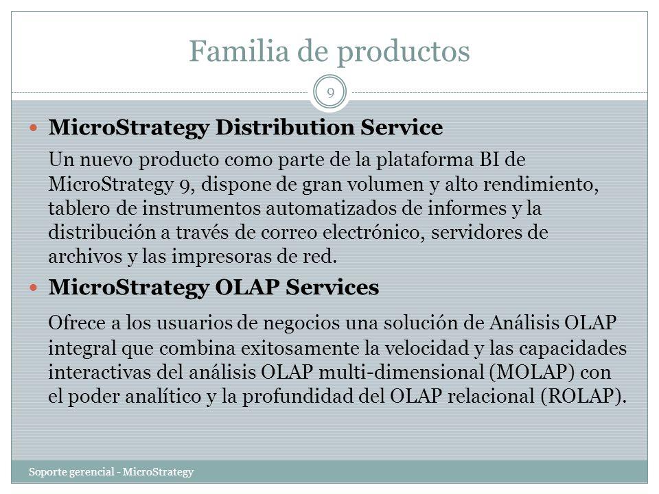 Familia de productos Soporte gerencial - MicroStrategy 10 MicroStrategy Report Services Es el motor de reporting de la Plataforma de Business Intelligence de MicroStrategy que posibilita el rango completo de reportes de negocios, incluyendo reportes operacionales y de producción, reportes de métricas controladas y tableros.