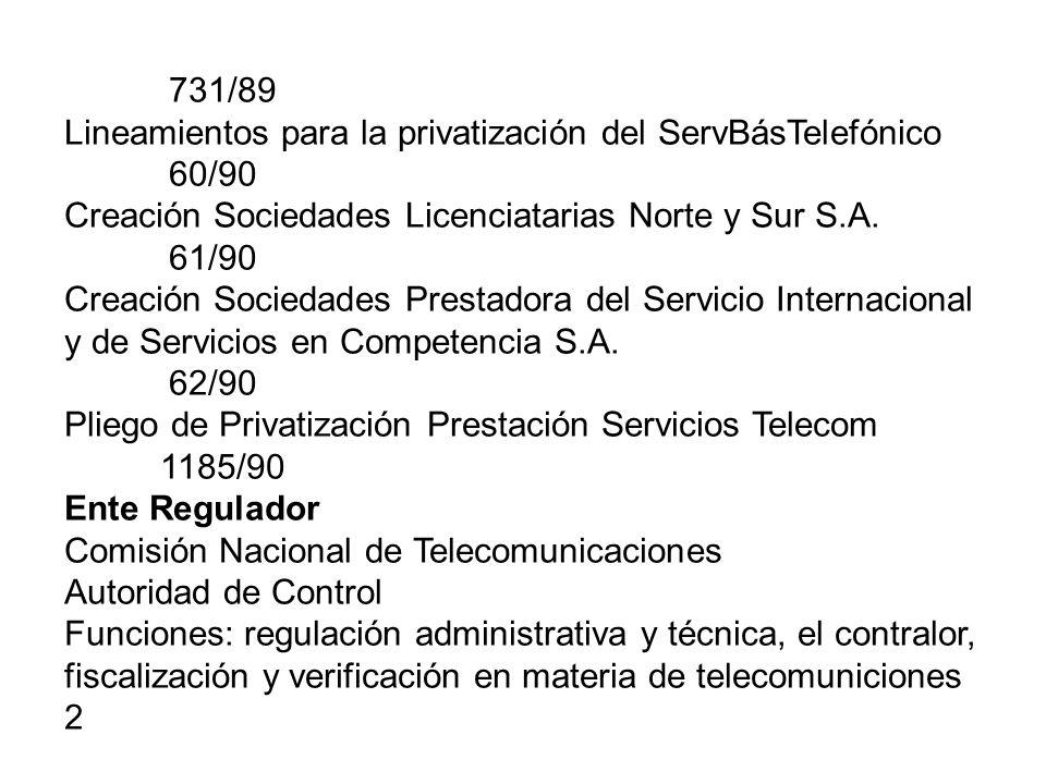 1420/92 Reglamento General del Servicio Básico Telefónico 264/98 Transición hacia la plena desregulación Res 60 SECOM/96 Reglamento del Servicio de Comunicaciones Personales 465/00 Plena desregulación del Mercado a partir del 09-11-2000, 764/00 Aprueba Reglamentos Licencias Interconexión Administración, Gestión y Control del Espectro RE Servicio Universal ¿.