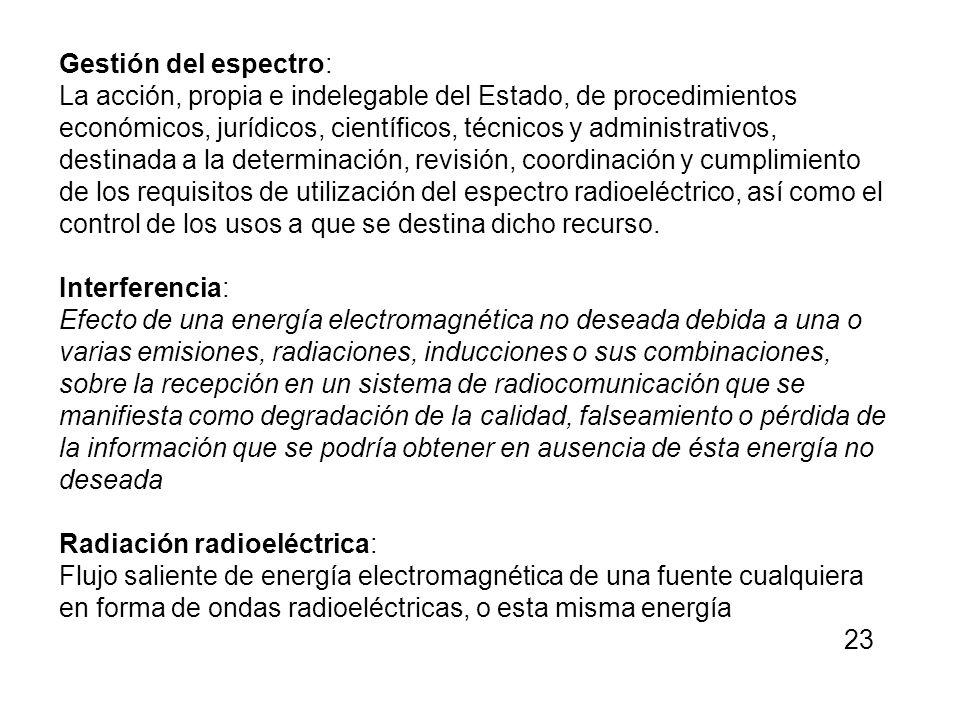 Gestión del espectro: La acción, propia e indelegable del Estado, de procedimientos económicos, jurídicos, científicos, técnicos y administrativos, de