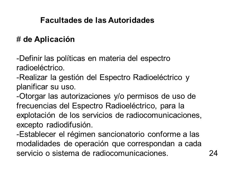 Facultades de las Autoridades # de Aplicación -Definir las políticas en materia del espectro radioeléctrico. -Realizar la gestión del Espectro Radioel