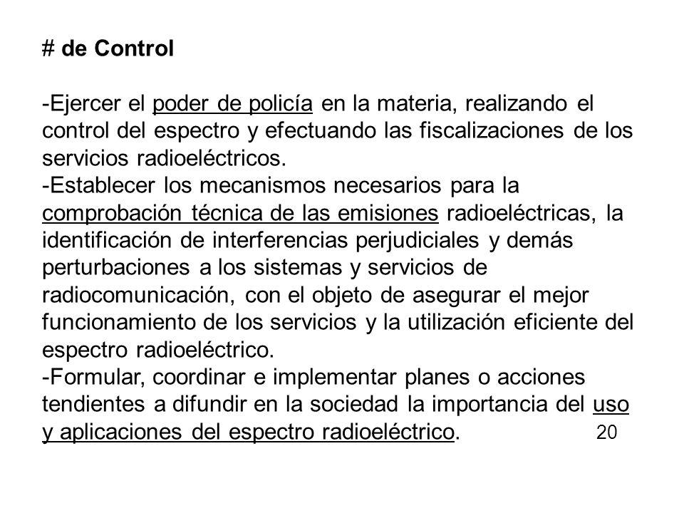 # de Control -Ejercer el poder de policía en la materia, realizando el control del espectro y efectuando las fiscalizaciones de los servicios radioelé