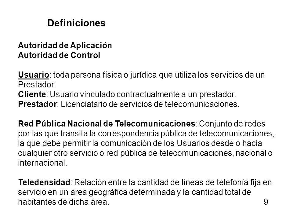 Definiciones Autoridad de Aplicación Autoridad de Control Usuario: toda persona física o jurídica que utiliza los servicios de un Prestador. Cliente: