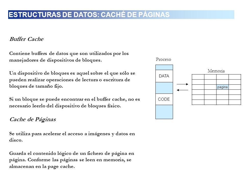 Buffer Cache Contiene buffers de datos que son utilizados por los manejadores de dispositivos de bloques. Un dispositivo de bloques es aquel sobre el