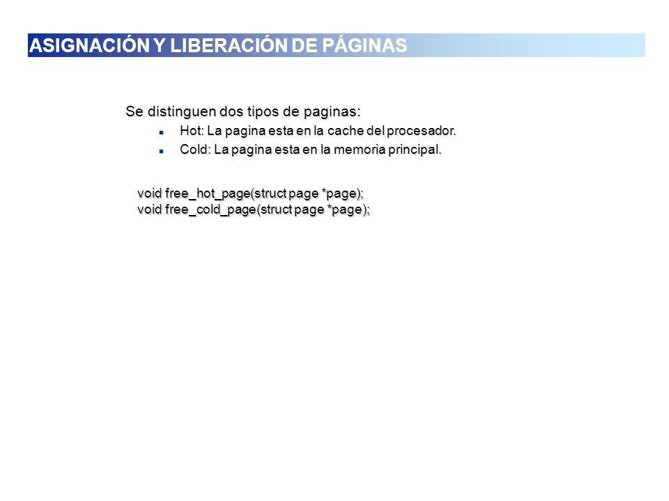 Se distinguen dos tipos de paginas: Hot: La pagina esta en la cache del procesador. Hot: La pagina esta en la cache del procesador. Cold: La pagina es