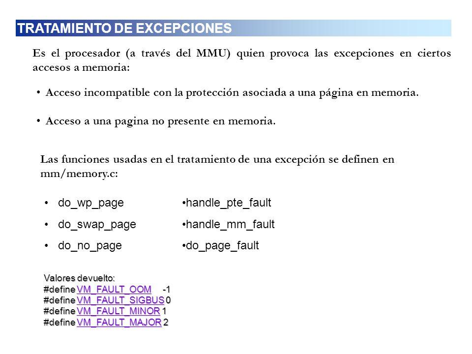 Es el procesador (a través del MMU) quien provoca las excepciones en ciertos accesos a memoria: Acceso incompatible con la protección asociada a una p