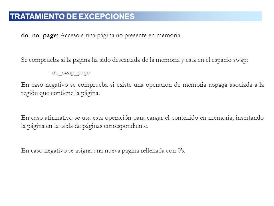 do_no_page: Acceso a una página no presente en memoria. Se comprueba si la pagina ha sido descartada de la memoria y esta en el espacio swap: - do_swa