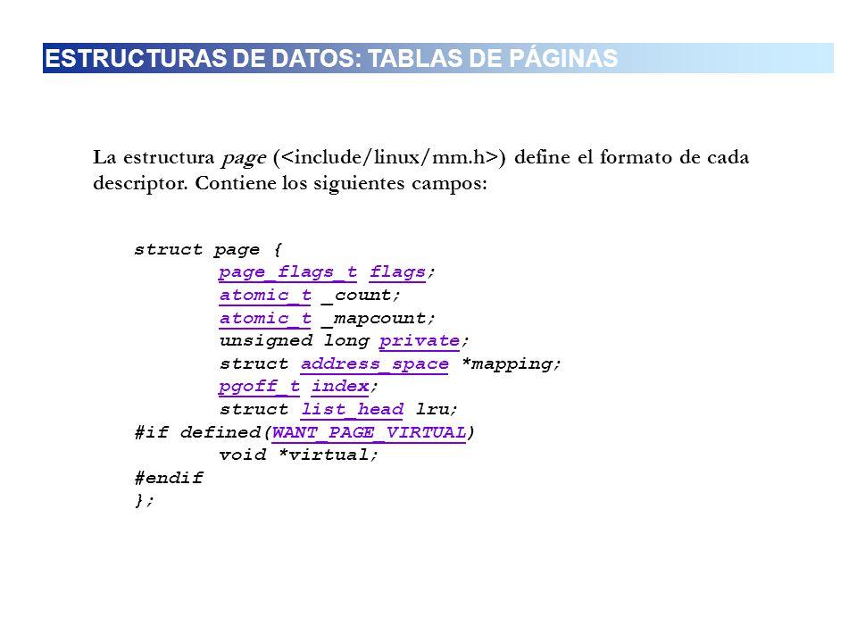TIPOCAMPODESCRIPCIÓN page_flags_tflagsEstado de la página atomic_tatomic_t;_countNúmeros de referencia a la página atomic_t_mapcountContador de las entradas a la tabla de páginas.