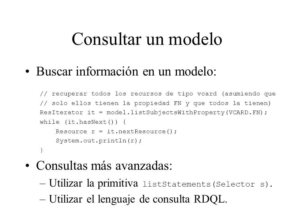 Consultar un modelo Buscar información en un modelo: // recuperar todos los recursos de tipo vcard (asumiendo que // solo ellos tienen la propiedad FN