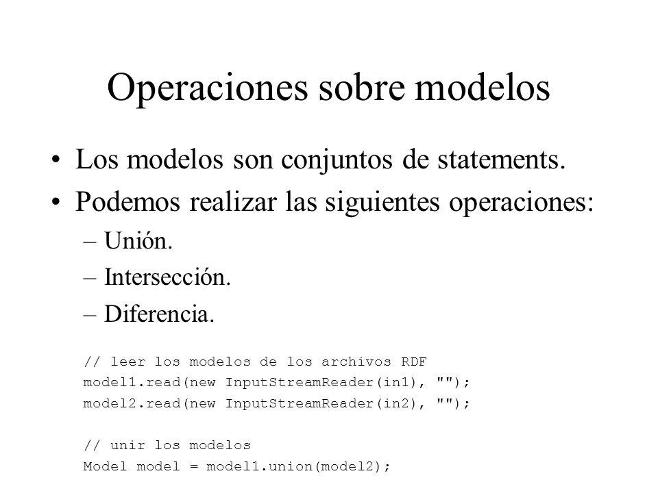 Operaciones sobre modelos Los modelos son conjuntos de statements. Podemos realizar las siguientes operaciones: –Unión. –Intersección. –Diferencia. //
