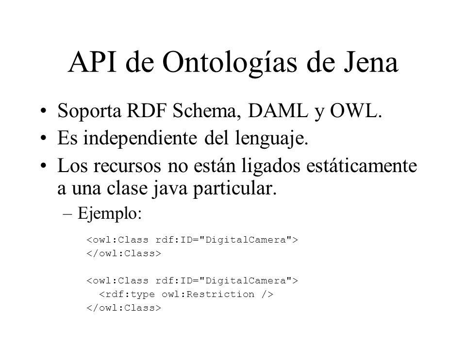 API de Ontologías de Jena Soporta RDF Schema, DAML y OWL. Es independiente del lenguaje. Los recursos no están ligados estáticamente a una clase java