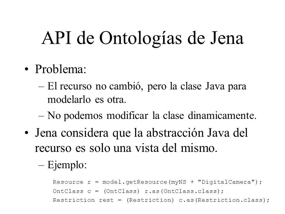 API de Ontologías de Jena Problema: –El recurso no cambió, pero la clase Java para modelarlo es otra. –No podemos modificar la clase dinamicamente. Je
