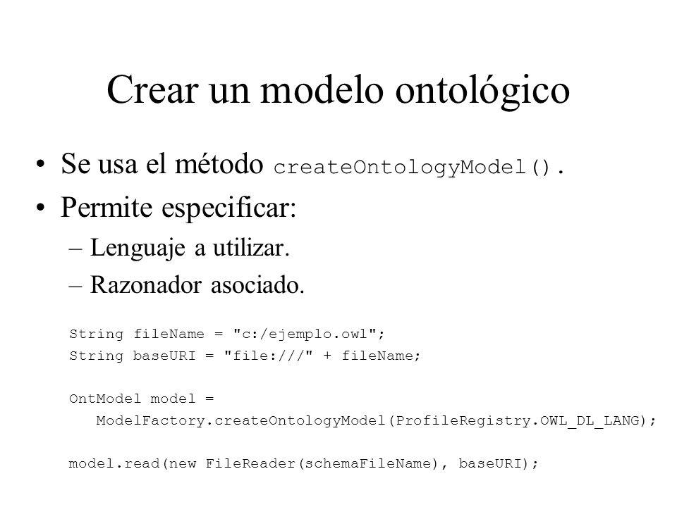 Crear un modelo ontológico Se usa el método createOntologyModel(). Permite especificar: –Lenguaje a utilizar. –Razonador asociado. String fileName =