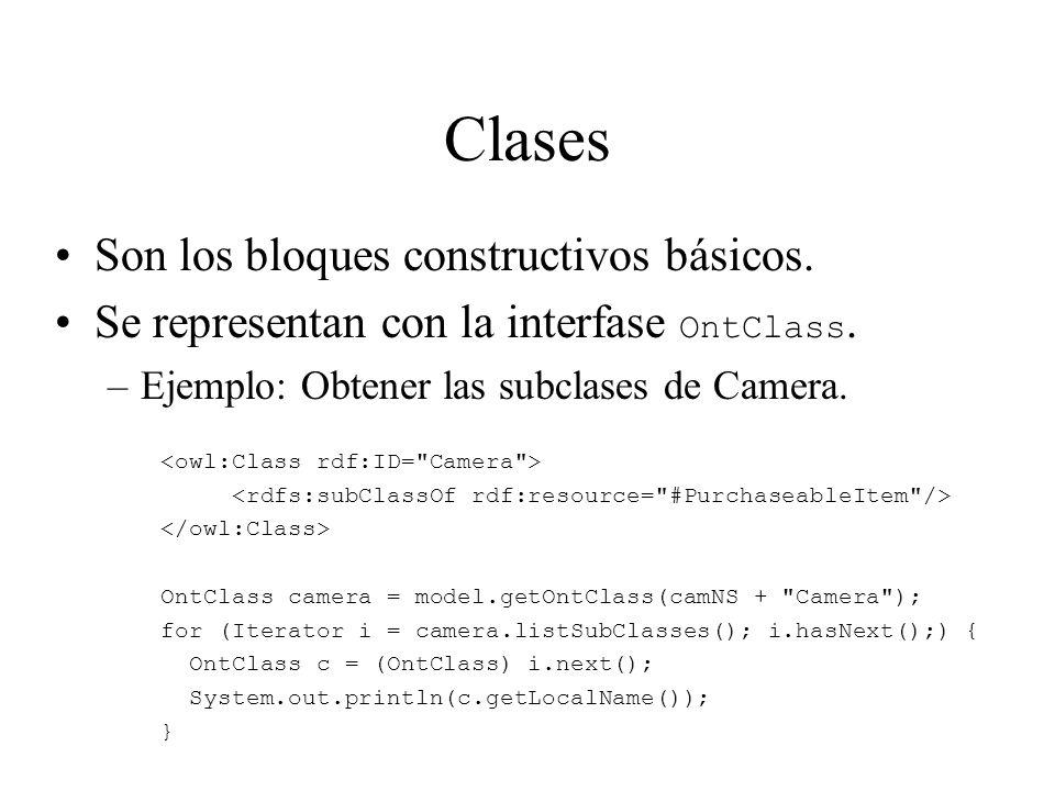 Clases Son los bloques constructivos básicos. Se representan con la interfase OntClass. –Ejemplo: Obtener las subclases de Camera. OntClass camera = m