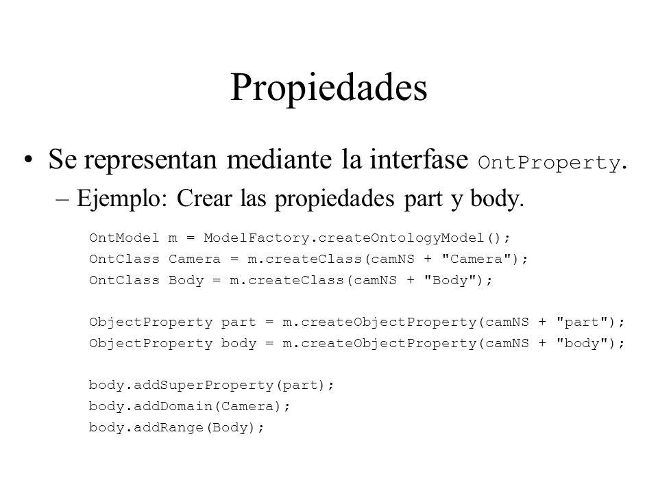 Propiedades Se representan mediante la interfase OntProperty. –Ejemplo: Crear las propiedades part y body. OntModel m = ModelFactory.createOntologyMod