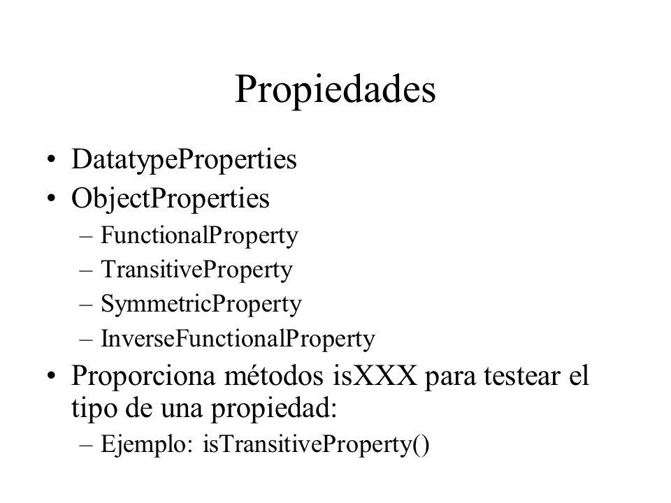 Propiedades DatatypeProperties ObjectProperties –FunctionalProperty –TransitiveProperty –SymmetricProperty –InverseFunctionalProperty Proporciona méto