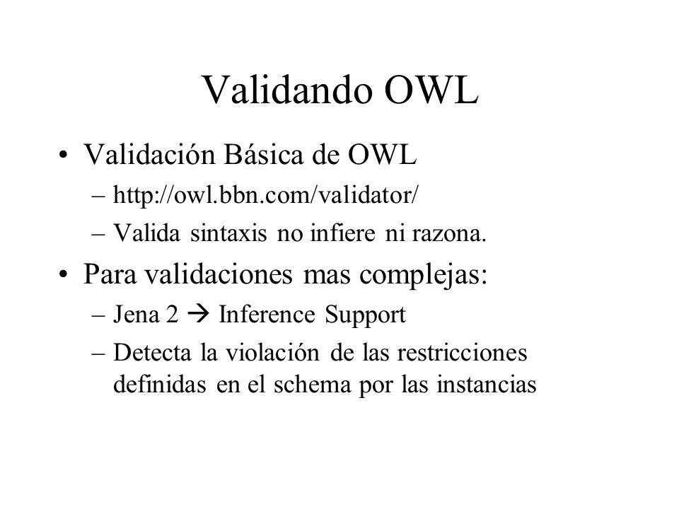 Validando OWL Validación Básica de OWL –http://owl.bbn.com/validator/ –Valida sintaxis no infiere ni razona. Para validaciones mas complejas: –Jena 2