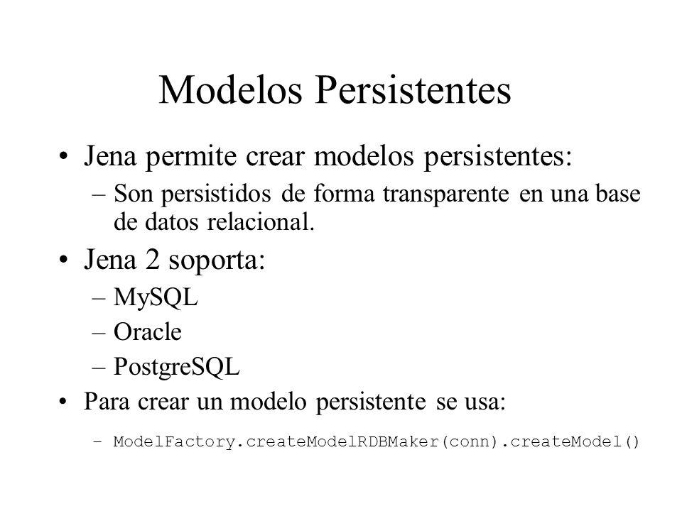 Modelos Persistentes Jena permite crear modelos persistentes: –Son persistidos de forma transparente en una base de datos relacional. Jena 2 soporta: