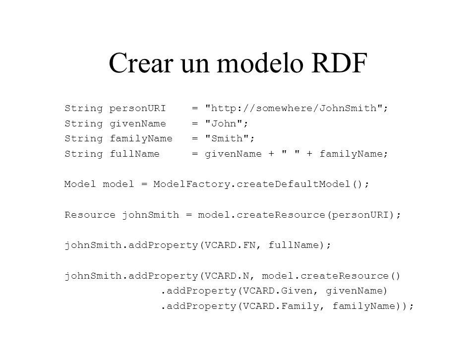 Escribir y Leer un modelo Para serializar el modelo a XML: model.write(System.out); Para cargar un modelo en memoria: Model model = ModelFactory.createDefaultModel(); InputStream in = Tutorial05.class.getClassLoader().