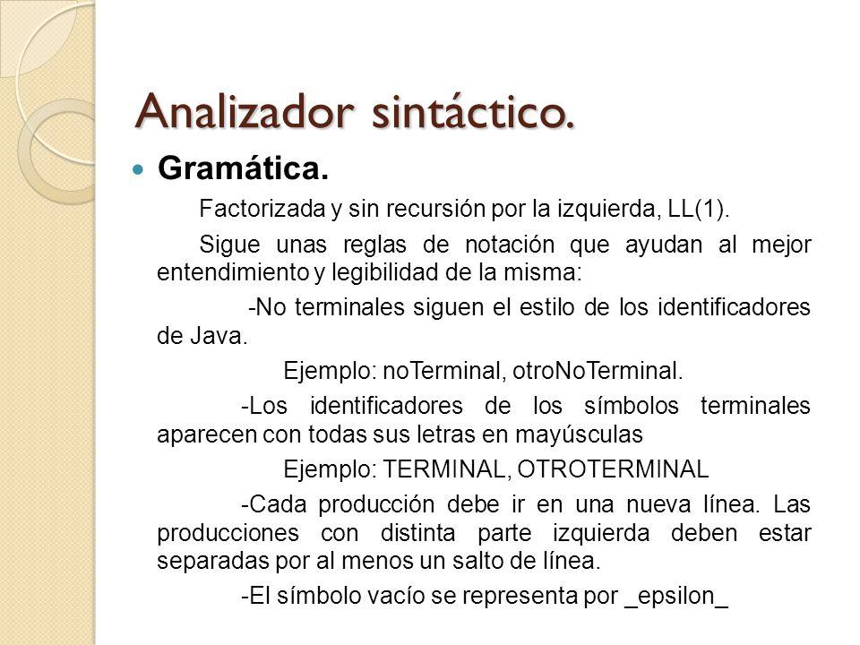 Analizador sintáctico. Gramática. Factorizada y sin recursión por la izquierda, LL(1). Sigue unas reglas de notación que ayudan al mejor entendimiento